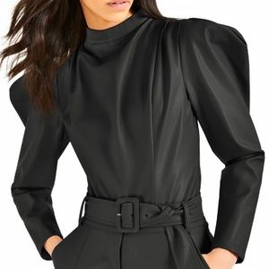 CULPOS X INC Faux Leather Bodysuit Sz: Medium